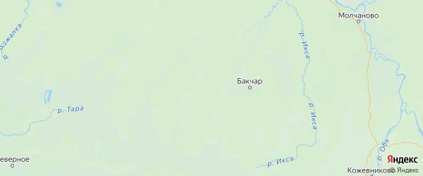 Карта Бакчарского района Томской области с городами и населенными пунктами