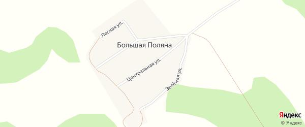 Центральная улица на карте поселка Большей Поляны Новосибирской области с номерами домов