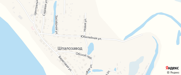 Юбилейная улица на карте поселка Шпалозавода Томской области с номерами домов