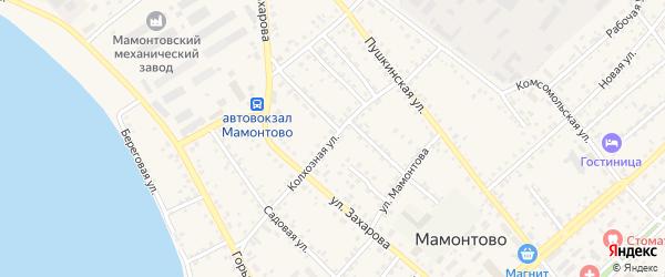 Колхозная улица на карте села Мамонтово Алтайского края с номерами домов