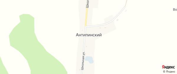 Школьный переулок на карте Антипинского поселка Новосибирской области с номерами домов