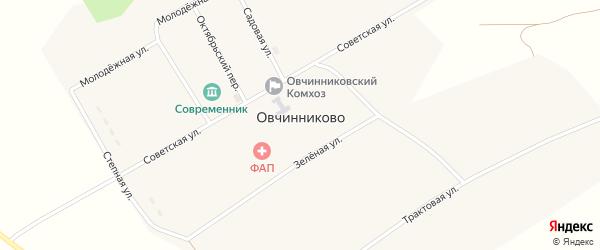 Трактовая улица на карте деревни Овчинниково Новосибирской области с номерами домов