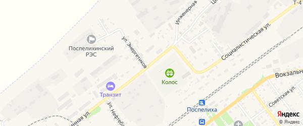 Целинная улица на карте села Поспелихи Алтайского края с номерами домов