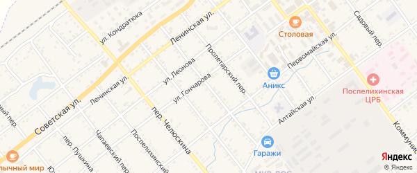 Союзмуковский переулок на карте села Поспелихи Алтайского края с номерами домов