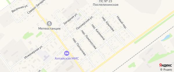 Комсомольская улица на карте села Поспелихи Алтайского края с номерами домов