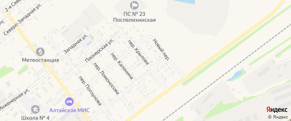 Переулок Крылова на карте села Поспелихи Алтайского края с номерами домов