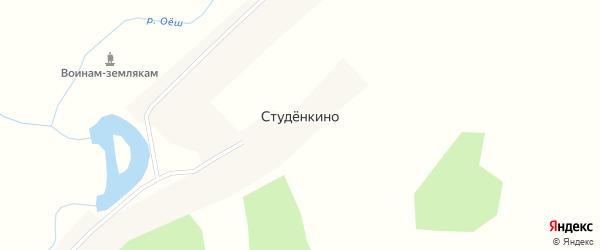 Пенсионная улица на карте деревни Студенкино Новосибирской области с номерами домов