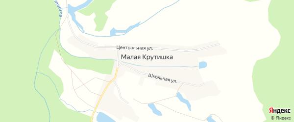 Карта деревни Малой Крутишки в Новосибирской области с улицами и номерами домов
