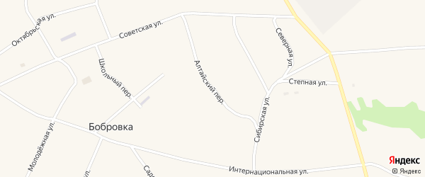 Алтайский переулок на карте села Бобровки с номерами домов