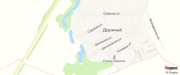 Садовая улица на карте Дружного поселка Новосибирской области с номерами домов