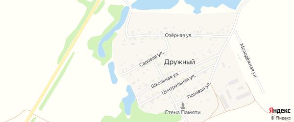 Озерная улица на карте Дружного поселка Новосибирской области с номерами домов