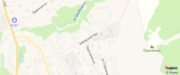 Заводской переулок на карте Змеиногорска с номерами домов