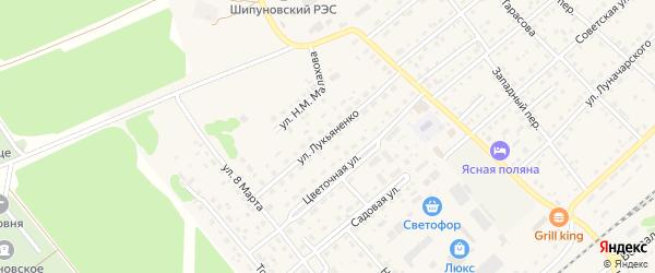 Улица Лукьяненко на карте села Шипуново Алтайского края с номерами домов