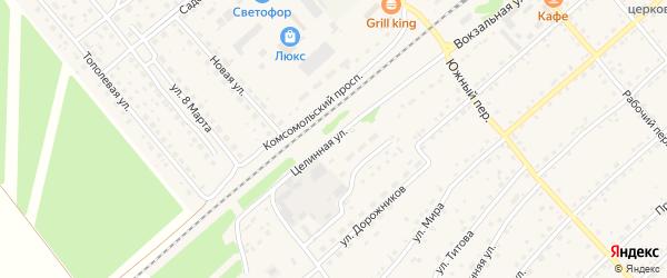 Целинная улица на карте села Шипуново с номерами домов