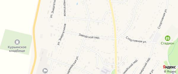 Заводской переулок на карте села Курьи с номерами домов