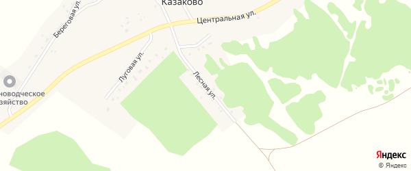 Лесная улица на карте деревни Казаково Новосибирской области с номерами домов