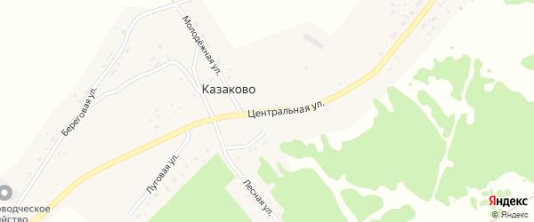 Центральная улица на карте деревни Казаково Новосибирской области с номерами домов