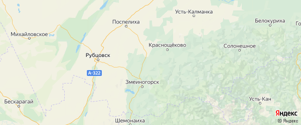 Карта Курьинского района Алтайского края с населенными пунктами и городами