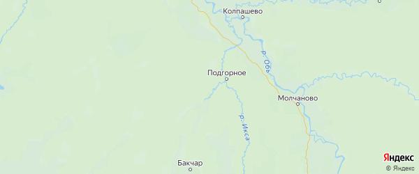 Карта Чаинского района Томской области с городами и населенными пунктами
