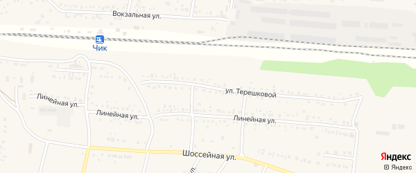 Улица Терешковой на карте поселка Чика Новосибирской области с номерами домов