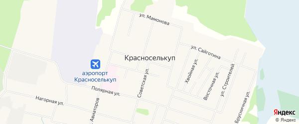 Карта села Красноселькупа в Ямало-ненецком автономном округе с улицами и номерами домов
