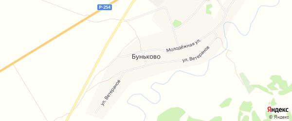 Карта деревни Буньково в Новосибирской области с улицами и номерами домов