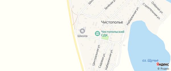 Центральный переулок на карте села Чистополья Новосибирской области с номерами домов