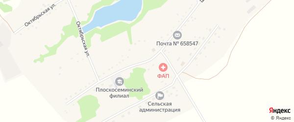 Школьная улица на карте Плоскосеминского поселка Алтайского края с номерами домов