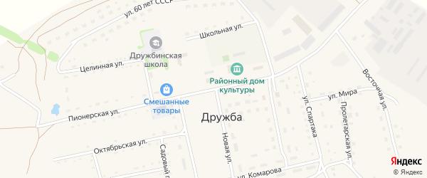Пионерская улица на карте села Дружбы с номерами домов