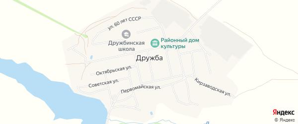 Карта села Дружбы в Алтайском крае с улицами и номерами домов