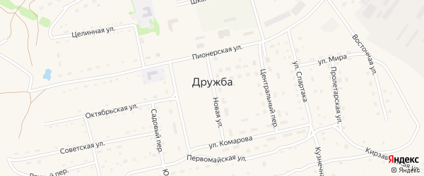 Южный переулок на карте села Дружбы с номерами домов