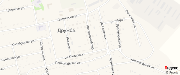Центральный переулок на карте села Дружбы с номерами домов
