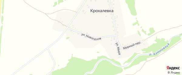 Улица Новоселов на карте деревни Крохалевки Новосибирской области с номерами домов