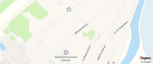 Дорожная улица на карте села Красного Яра с номерами домов