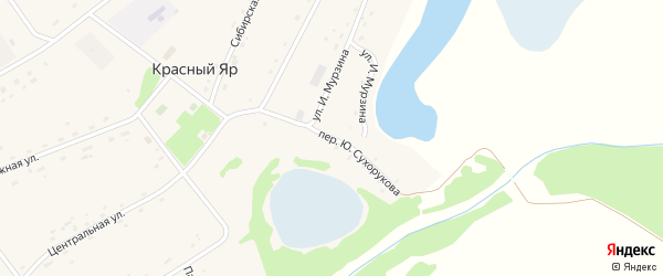 Переулок Ю.Сухорукова на карте села Красного Яра Алтайского края с номерами домов
