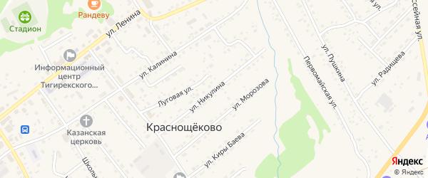 Улица Никулина на карте села Краснощёково с номерами домов