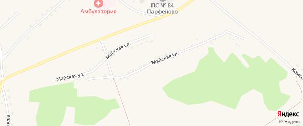 Майская улица на карте села Парфеново с номерами домов