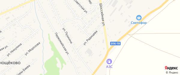 Улица Радищева на карте села Краснощёково с номерами домов