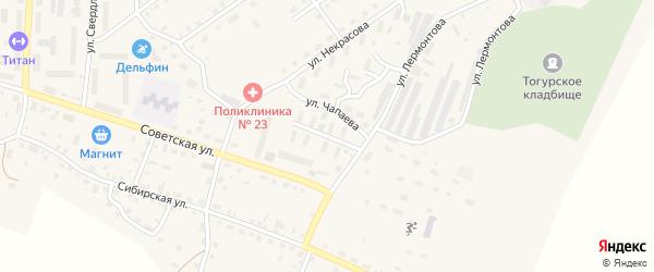 Улица Чапаева на карте села Тогур Томской области с номерами домов