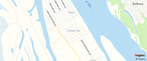 СНТ Ежевичка на карте поселка Колывани Новосибирской области с номерами домов