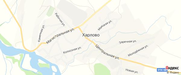 Карта села Харлово в Алтайском крае с улицами и номерами домов