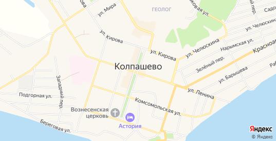 Карта территории сдт Рябинушка в Колпашево с улицами, домами и почтовыми отделениями со спутника онлайн