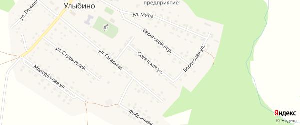 Советская улица на карте села Улыбино Новосибирской области с номерами домов