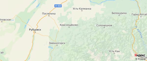 Карта Краснощековского района Алтайского края с населенными пунктами и городами