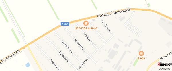 Майская улица на карте села Павловска Алтайского края с номерами домов