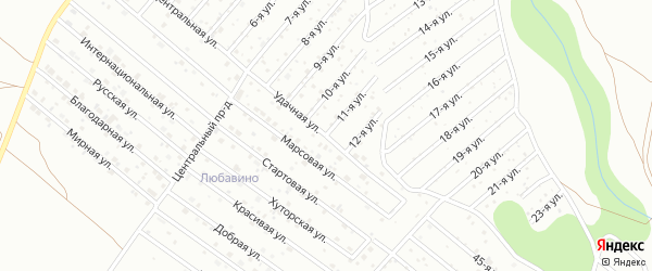 Удачная улица на карте территории ТЛПХ Любавино с номерами домов