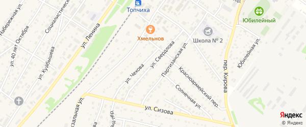 Улица Свердлова на карте села Топчихи Алтайского края с номерами домов