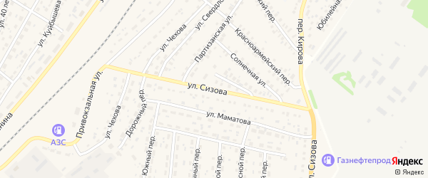 Улица Сизова на карте села Топчихи Алтайского края с номерами домов