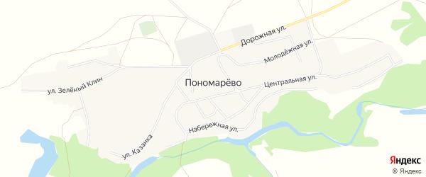 Карта села Пономарево в Алтайском крае с улицами и номерами домов