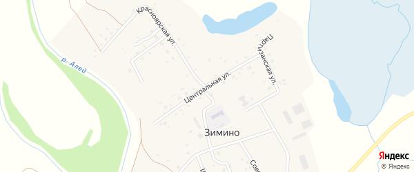 Центральная улица на карте села Зимино с номерами домов